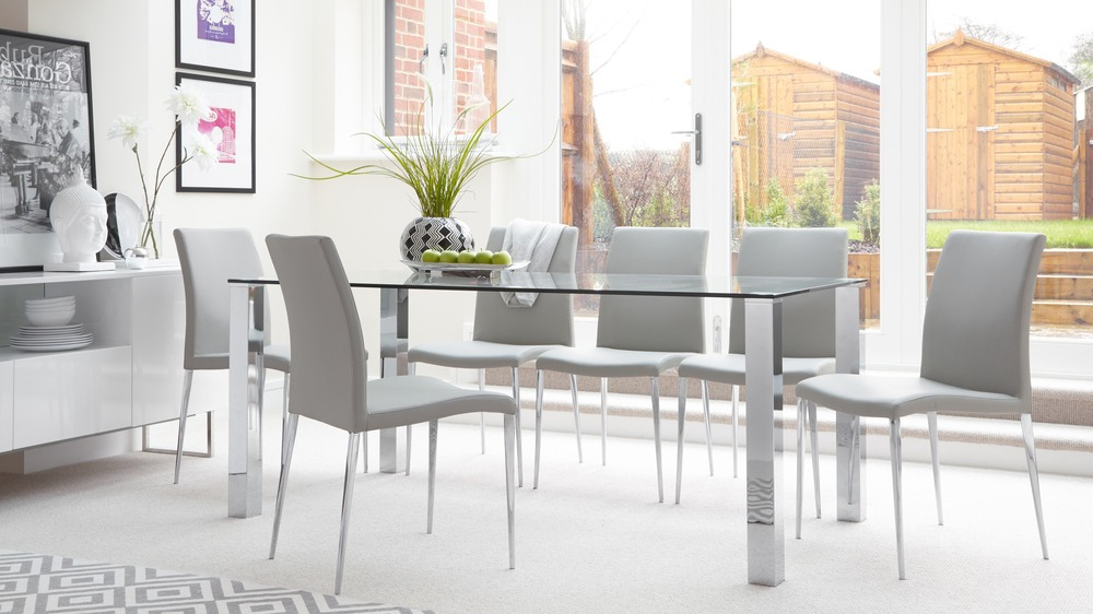 Featured Photo of Glass And Chrome Dining Tables And Chairs