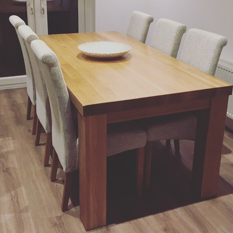 """Chunky Solid Oak Dining Tables And 6 Chairs Regarding 2018 Contemporary Chunky 5Ft X 2Ft 6"""" Natural Solid Oak Dining Table From (View 5 of 20)"""