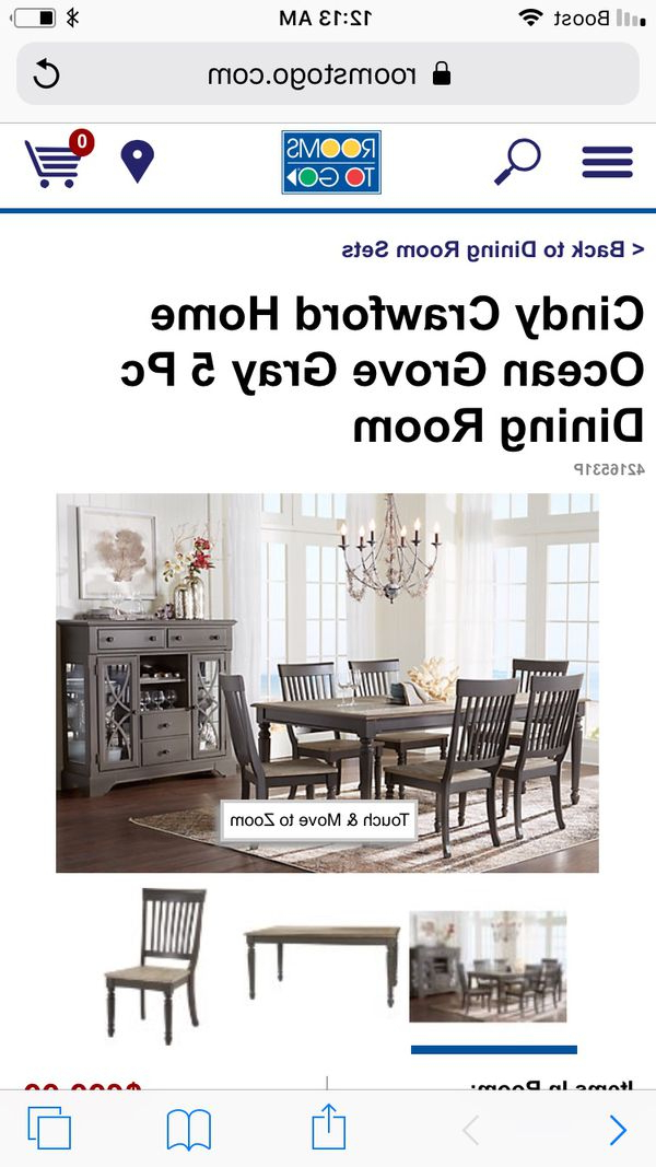 Cindy Crawford Ocean Grove Grey Wooden Dining Room Set 7 Piece Set Within Best And Newest Crawford 7 Piece Rectangle Dining Sets (View 3 of 20)