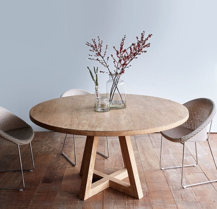 Circular Dining Tables Within Well Known Cross Leg Round Dining Table Whitewashed Teak  (View 7 of 20)