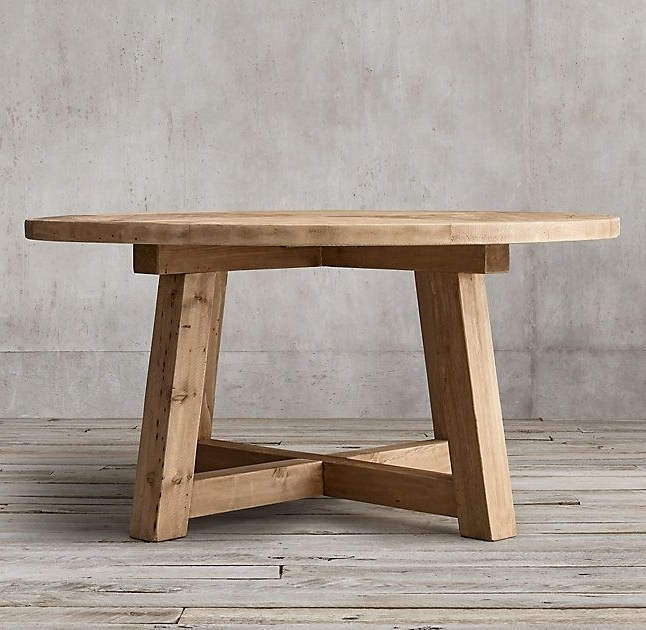 Circular Oak Dining Tables For Well Known Rh's Salvaged Wood Beam Round Dining Table:our Salvaged Beam Wood (View 3 of 20)