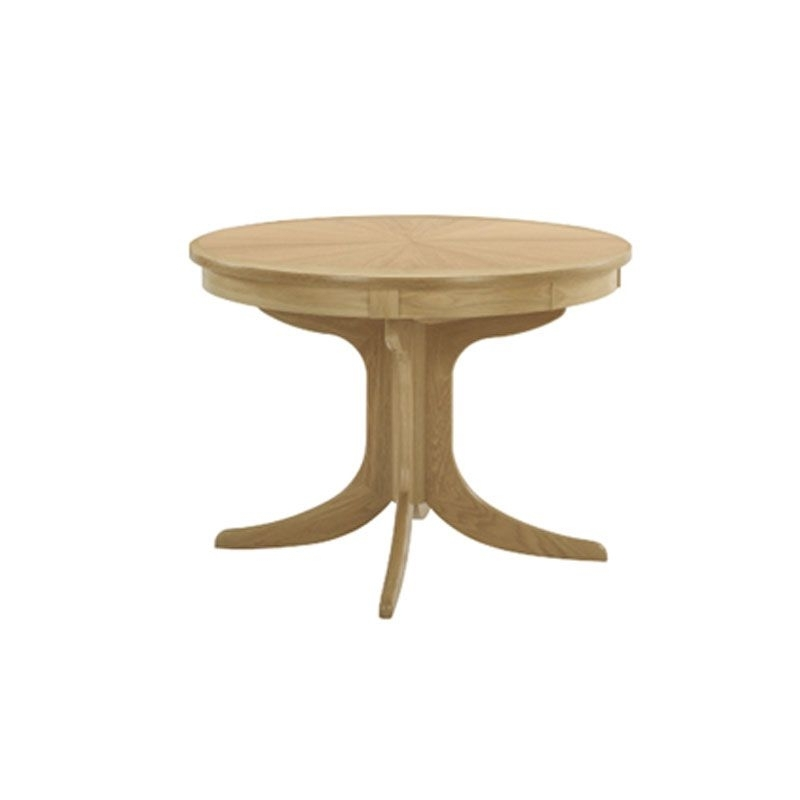 Circular Oak Dining Tables For Well Known Shades Oak Circular Pedestal Dining Table With Sunburst Top (View 4 of 20)