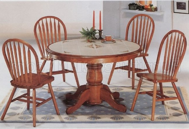 Classic Oak Dining Room Round Table & Deluxe Arrow Back Chairs For Newest Round Oak Dining Tables And Chairs (View 5 of 20)