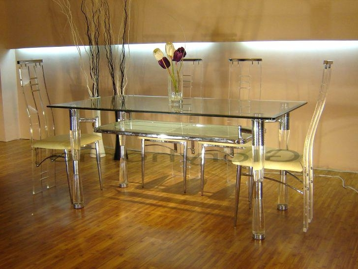 Clear Acrylic Dining Table Dinette Tables Round Kitchen Table Sets Throughout Well Known Acrylic Round Dining Tables (View 12 of 20)