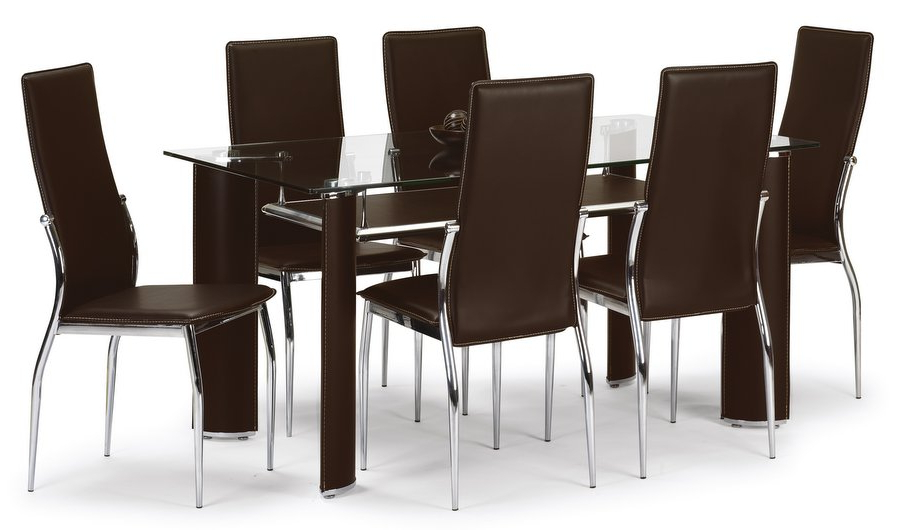 Clear Glass Black High Gloss Dining Table And 6 Chairs Recovering Inside Fashionable Glass Dining Tables 6 Chairs (View 12 of 20)