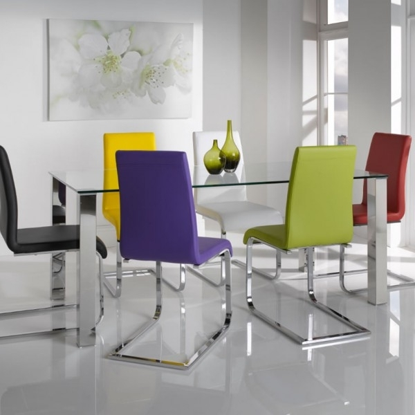 Clear Glass Dining Tables And Chairs Intended For Famous Barletto Clear Glass Dining Table And Chairs – 5 Day Express Uk Delivery (View 4 of 20)
