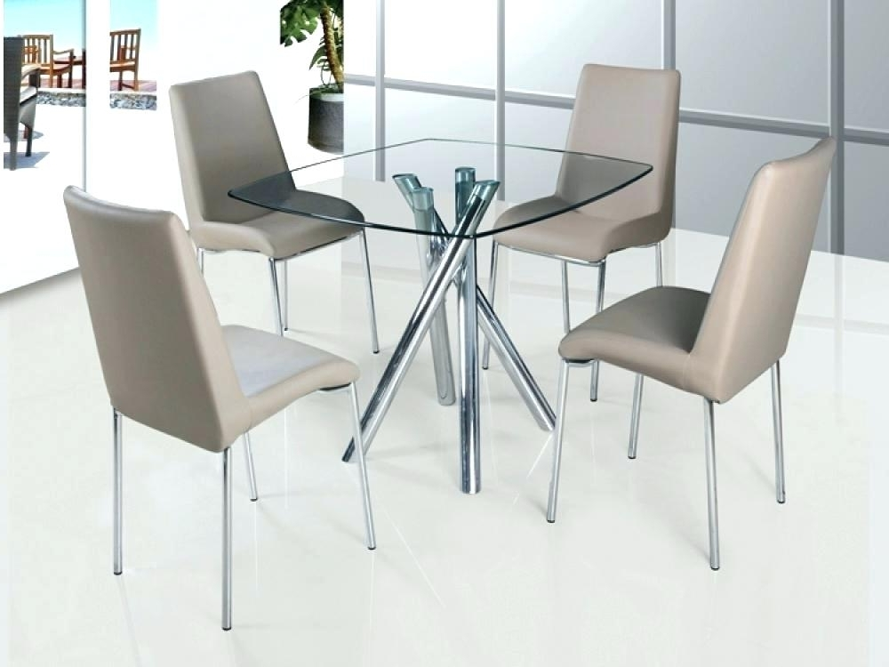Clear Glass Dining Tables And Chairs Within 2017 Round Glass Din Clear Glass Dining Table And 4 Chairs For Small (View 8 of 20)