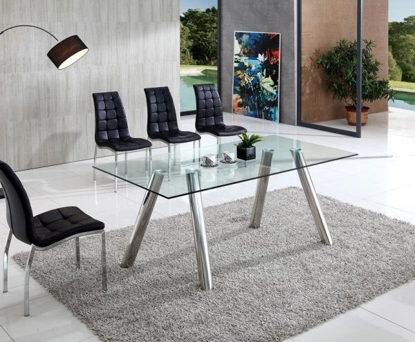 Clear Glass Dining Tables And Chairs Within Newest Pedro Clear Glass Dining Table With Angel Chairs – Implex Supplies (View 11 of 20)