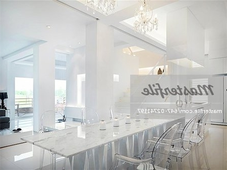 Clear Plastic Dining Tables Inside 2018 Marble Dining Table With Clear Plastic Chairs – Stock Photo (View 3 of 20)