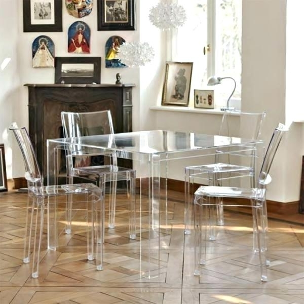 Clear Plastic Dining Tables Regarding Most Up To Date Clear Plastic Dining Table White Dining Chairs Dining Chairs Plastic (View 5 of 20)