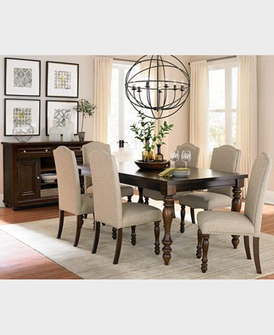Closeout! Kelso 7 Pc. Dining Set (Dining Table & 6 Side Chairs) In With Regard To Newest Craftsman 7 Piece Rectangle Extension Dining Sets With Side Chairs (Gallery 9 of 20)
