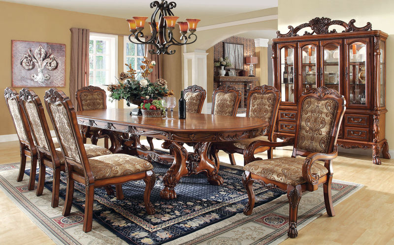 Cm3557T Medieve Formal Dining Room Set With Regard To Leon Dining Tables (View 2 of 20)