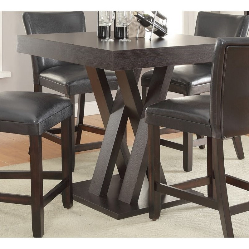 Coaster Counter Height Dining Table In Cappuccino – 100523 Pertaining To Latest Leon 7 Piece Dining Sets (View 14 of 20)