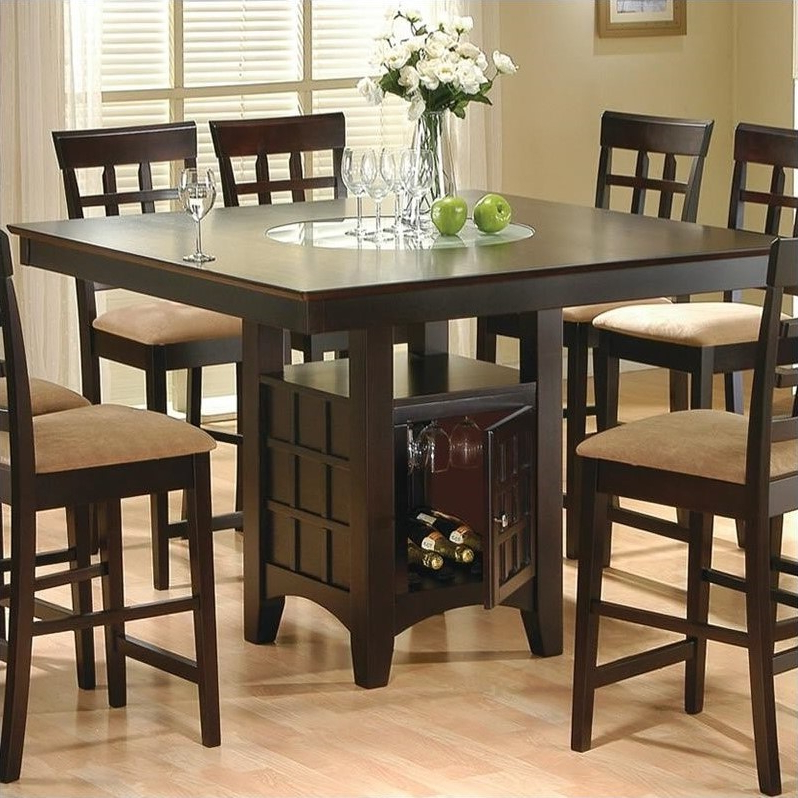 Coaster Hyde Counter Height Square Dining Table With Storage Base In Within Best And Newest Square Dining Tables (Gallery 1 of 20)