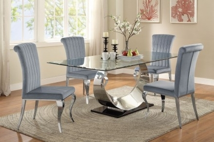 Coaster Manessier Chrome Dining Room Set – Manessier Collection: 5 Within Latest Chrome Dining Tables And Chairs (View 7 of 20)