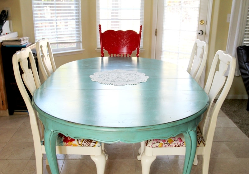 Colorful Painted Dining Table Inspiration With Regard To Latest Blue Dining Tables (View 4 of 20)