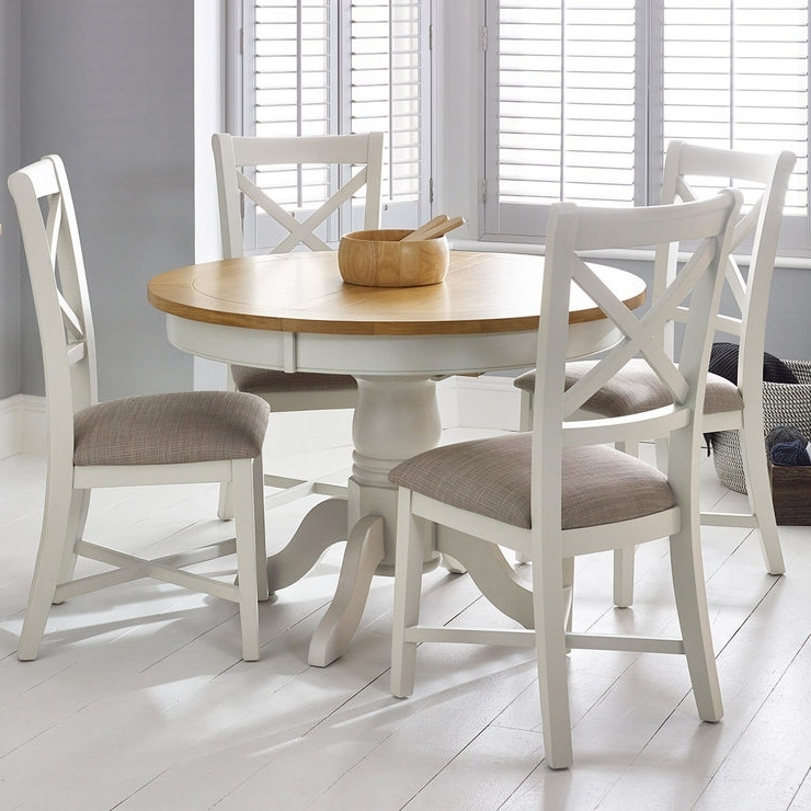 Combs Extension Dining Tables Within Most Up To Date Bordeaux Painted Ivory Round Extending Dining Table + 4 Chairs (View 7 of 20)