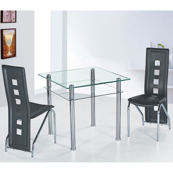 Como Clear Glass Dining Table And 4 Black Siena Dining Regarding Most Current Como Dining Tables (View 2 of 20)