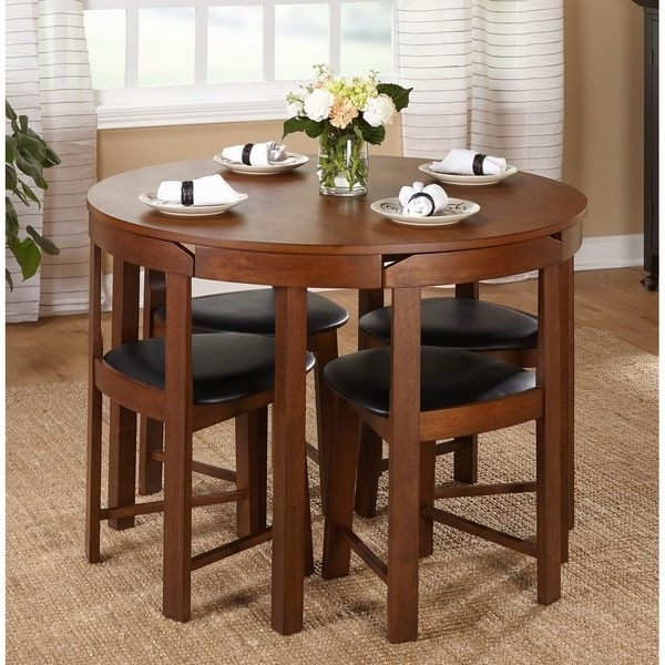 Compact Dining Tables Inside Well Known Simple Living 5 Piece Tobey Walnut Compact Dining Set (View 6 of 20)