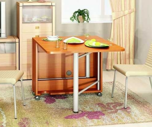 Compact Folding Dining Tables And Chairs Inside 2017 30 Space Saving Folding Table Design Ideas For Functional Small Rooms (View 20 of 20)