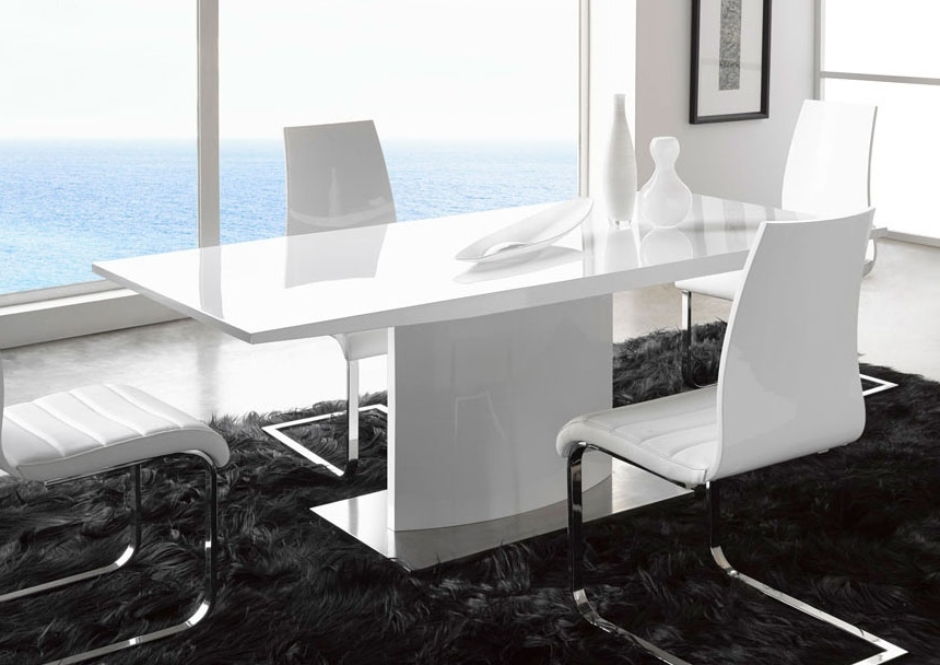 Contemporary Base Dining Tables Within Trendy Extremely Contemporary White Lacquered Dining Table With Heavy Base (Gallery 20 of 20)