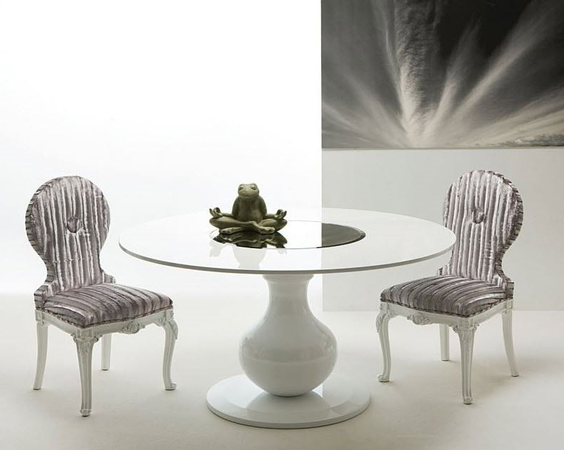 Contemporary Dining Table / Lacquered Wood / Round / White – Elio Cr Within Widely Used White Circle Dining Tables (View 2 of 20)