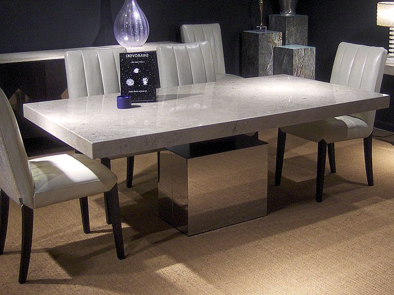 Contemporary Dining Table / Polished Stainless Steel / Marble For Most Current Stone Dining Tables (View 2 of 20)