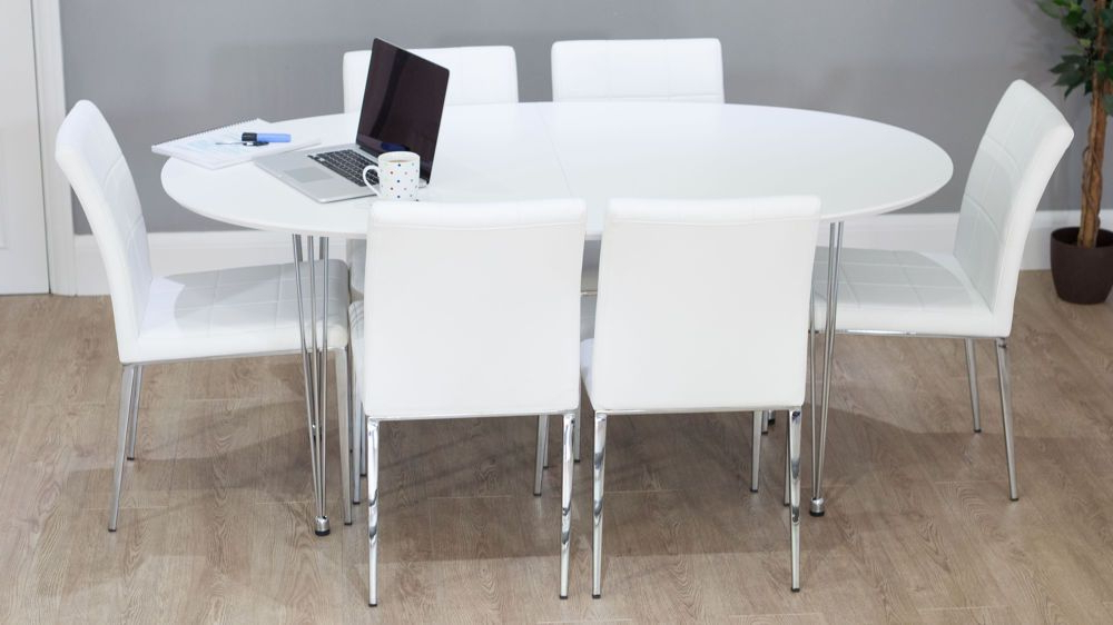 Contemporary White Round Double Extending Dining Set (View 4 of 20)