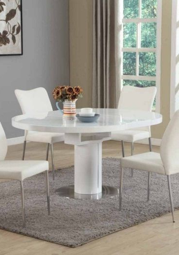 Contemporary White Round Extendable Dining Table #modern (View 15 of 20)