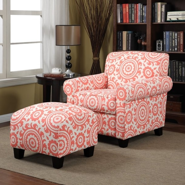 Cora Ii Arm Chairs With Regard To Favorite Shop Handy Living Mira Orange Coral Medallion Arm Chair And Ottoman (View 10 of 20)