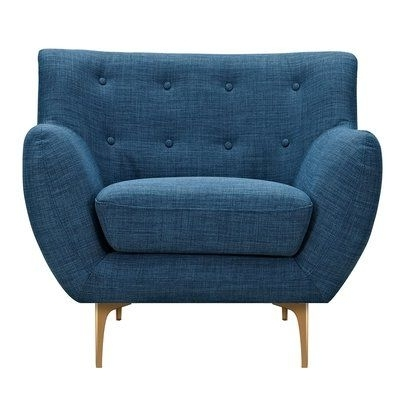Corrigan Studio Mindy Armchair Upholstery: Stone Blue, Finish: Brass For Most Current Mindy Slipcovered Side Chairs (View 6 of 20)