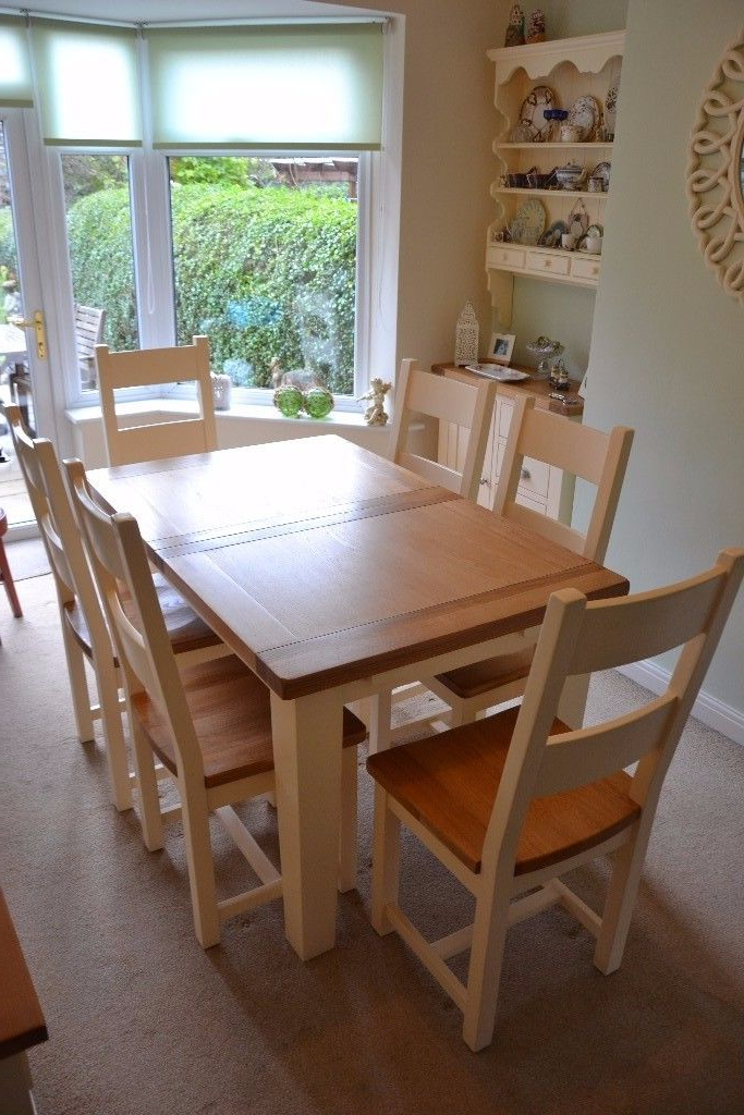 Cotswold Cheltenham Cream Oak Dining Table & Six Chairs (Gallery 9 of 20)