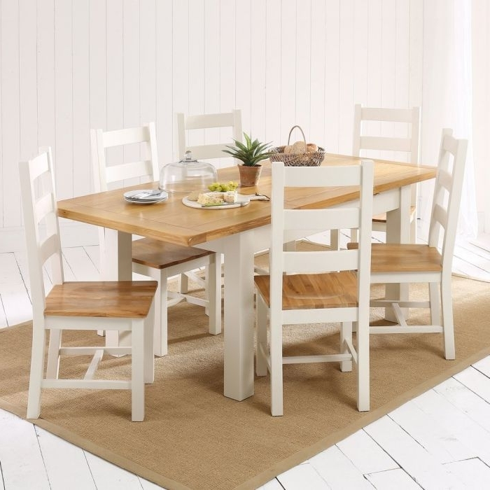 Cotswold Dining Tables Within Current Cotswold Country Cream Painted Medium Dining Table + 6 Chair Set (View 4 of 20)