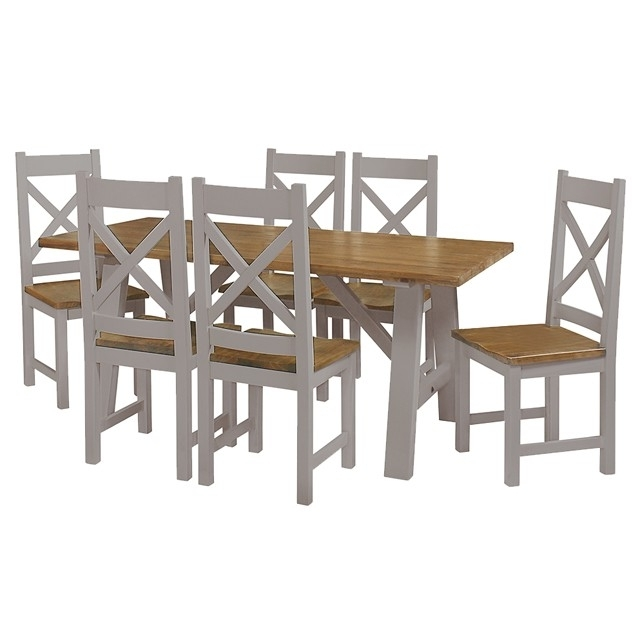 Cotswold Painted Grey Trestle Table – Brand Interiors For Favorite Cotswold Dining Tables (View 6 of 20)