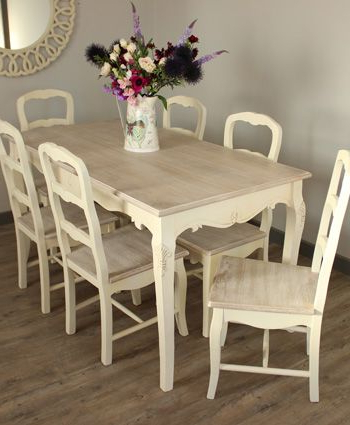 Country Ash Range Dining Room Set, Cream Large Dining Table And 6 With Regard To Most Current Shabby Chic Cream Dining Tables And Chairs (View 4 of 20)