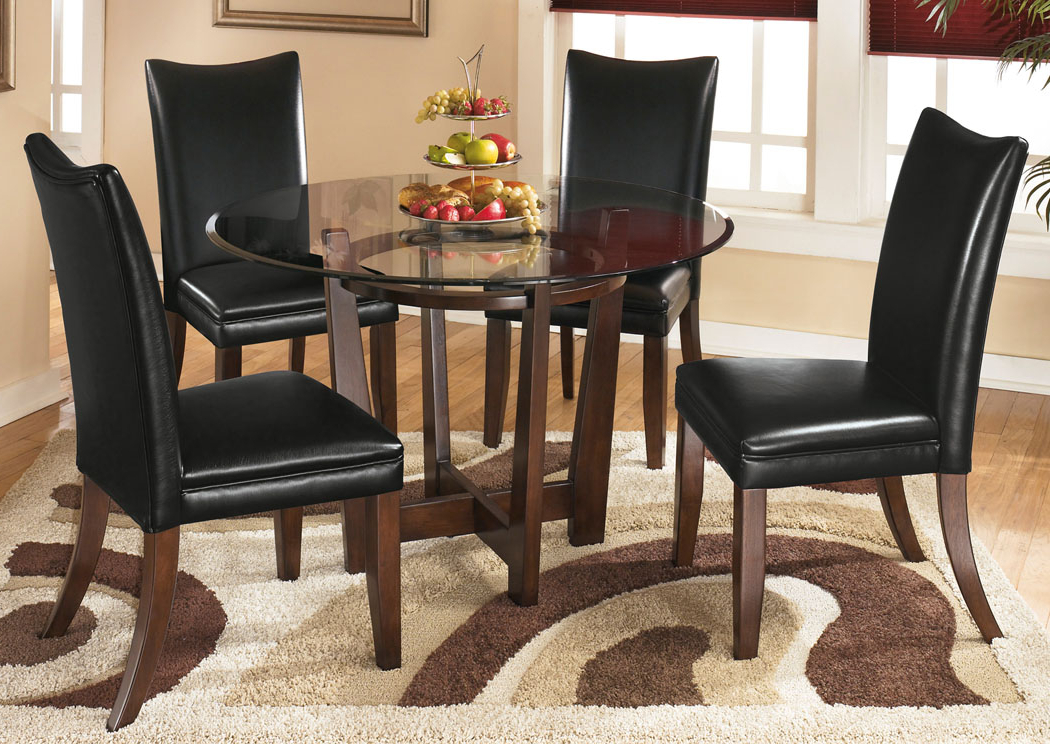 Craftsman 5 Piece Round Dining Sets With Uph Side Chairs Pertaining To Most Up To Date Furniture Exchange Charell Round Dining Table W/4 Black Side Chairs (View 6 of 20)
