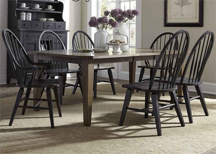 Craftsman 7 Piece Rectangle Extension Dining Sets With Arm & Side Chairs Pertaining To Most Recently Released Hearthstone 7 Piece Oak Rectangular Leg Table With Black Windsor (View 5 of 20)