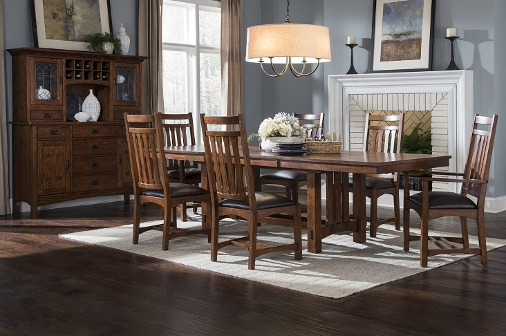 Craftsman 7 Piece Rectangle Extension Dining Sets With Arm & Side Chairs Throughout Widely Used Intercon Furniture Oak Park Dining Room Collectiondining Rooms (View 12 of 20)