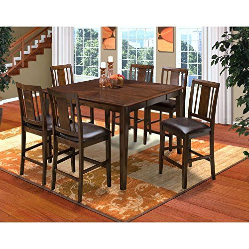 Craftsman 7 Piece Rectangle Extension Dining Sets With Arm & Side Chairs With Regard To 2017 Labelle 7 Piece Round Corner Counter Dining Table & 6 Slat Back (View 11 of 20)