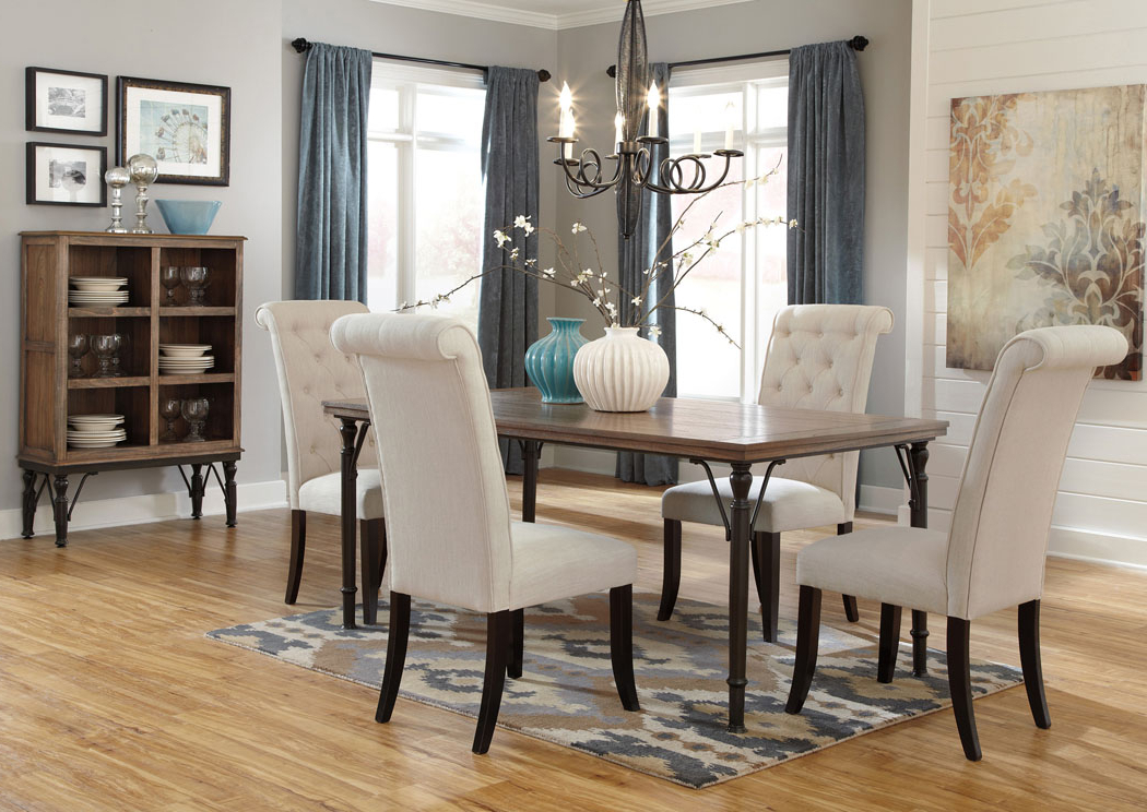 Craftsman 7 Piece Rectangle Extension Dining Sets With Uph Side Chairs For Trendy Prime Time Rentals Nj Tripton Rectangular Dining Table W/4 Side Chairs (View 3 of 20)