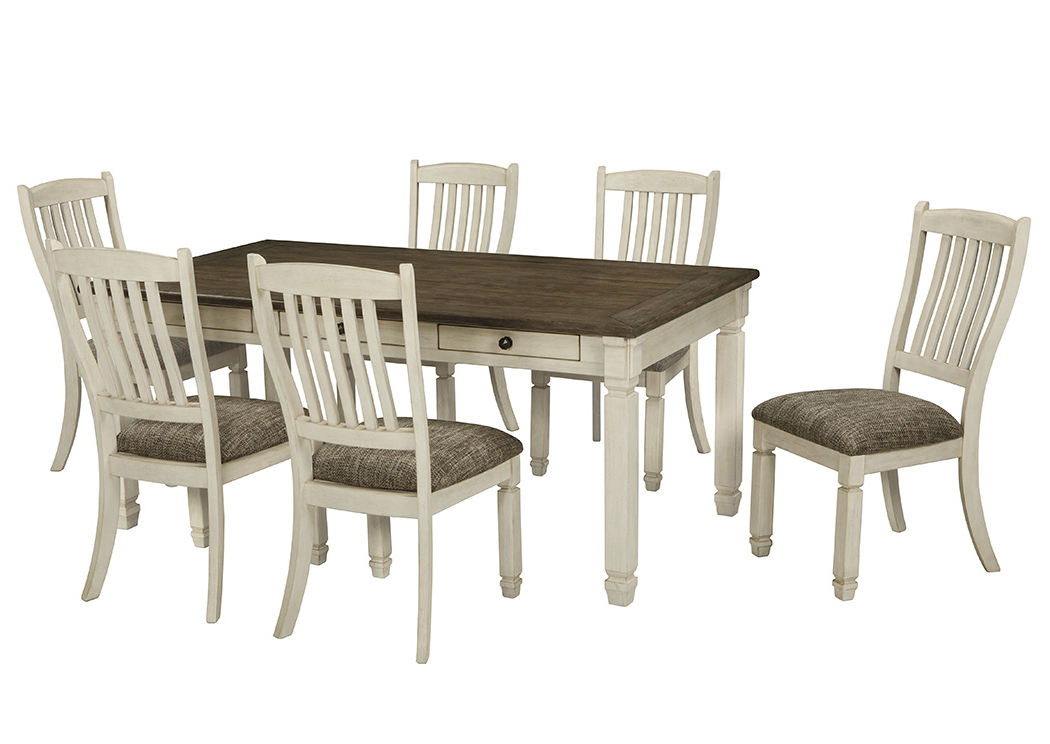 Craftsman 7 Piece Rectangle Extension Dining Sets With Uph Side Chairs Inside Current Select Imports Furniture And Decor Bolanburg Antique White (View 6 of 20)
