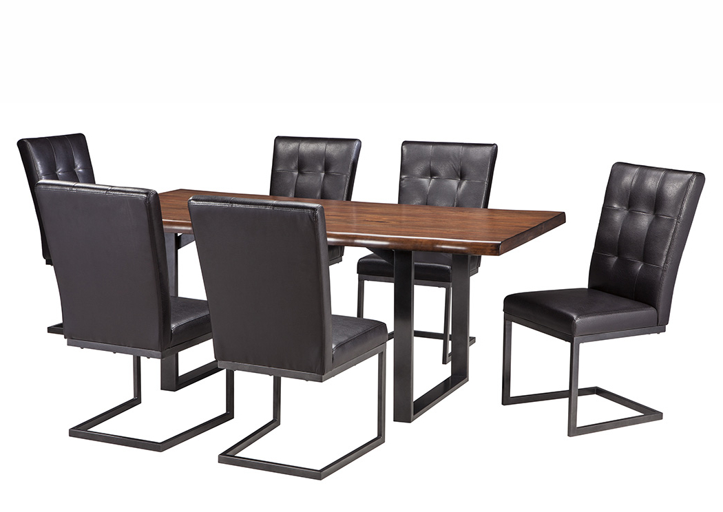 Craftsman 7 Piece Rectangle Extension Dining Sets With Uph Side Chairs Within Most Recent The Warehouse Esmarina Walnut Brown Rectangular Dining Room Table W (View 13 of 20)
