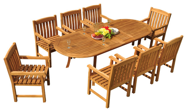 "Craftsman 9 Piece Extension Dining Sets In Trendy 9 Piece Outdoor Teak Dining Set, 94"" Extension Oval Table, 8 Devon (View 3 of 20)"