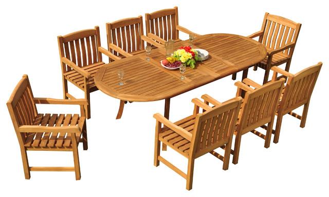 "Craftsman 9 Piece Extension Dining Sets In Trendy 9 Piece Outdoor Teak Dining Set, 94"" Extension Oval Table, 8 Devon (View 4 of 20)"