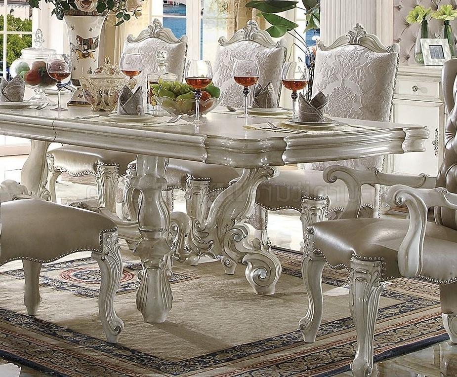 Craftsman 9 Piece Extension Dining Sets With Regard To Most Recent Acme Acme Versailles 9 Piece Pedestal Dining Set In Bone White (View 8 of 20)