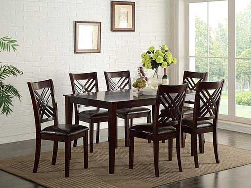 """Craftsman 9 Piece Extension Dining Sets With Uph Side Chairs Regarding Most Popular At Rent A Center The Standard """"staten"""" 7 Piece Dining Set Features (View 12 of 20)"""