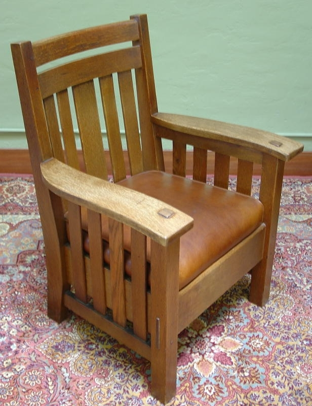 Craftsman Arm Chairs With Most Popular Voorhees Craftsman Mission Oak Furniture – Large Harden Co (View 14 of 20)