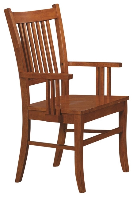 Craftsman Arm Chairs With Regard To Well Known Marbrisa Mission Style Medium Brown Finish Slat Back Wood Arm Chairs (View 11 of 20)