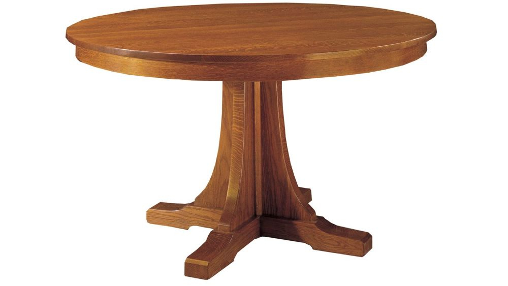 Craftsman Round Dining Tables Pertaining To Famous Stickley Craftsman Round Pedestal Dining Table With Leaves (View 8 of 20)