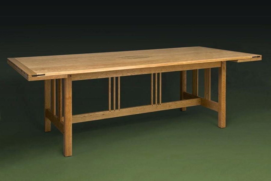 Craftsman Round Dining Tables With Regard To Best And Newest Craftsman Dining Table Optional Chairs Sears Round Glass – Chann (View 9 of 20)